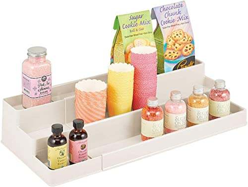 mDesign Medium Plastic Adjustable, Expandable Kitchen Cabinet, Pantry, Shelf Organizer Spice Rack with 3 Tiered Levels of Storage for Spice Bottles, Jars, Seasonings, Baking Supplies – Cream