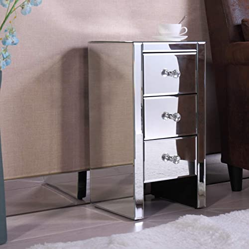 Mirrored Three Drawer Nightstand Bedroom Furniture Side Table End Table Bedside Table