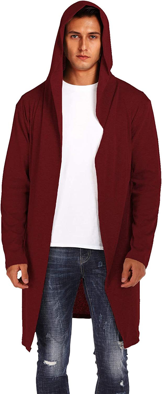 DOSWODE Mens Cardigan Long Open Front Draped Lightweight Hooded Sweater with Pockets