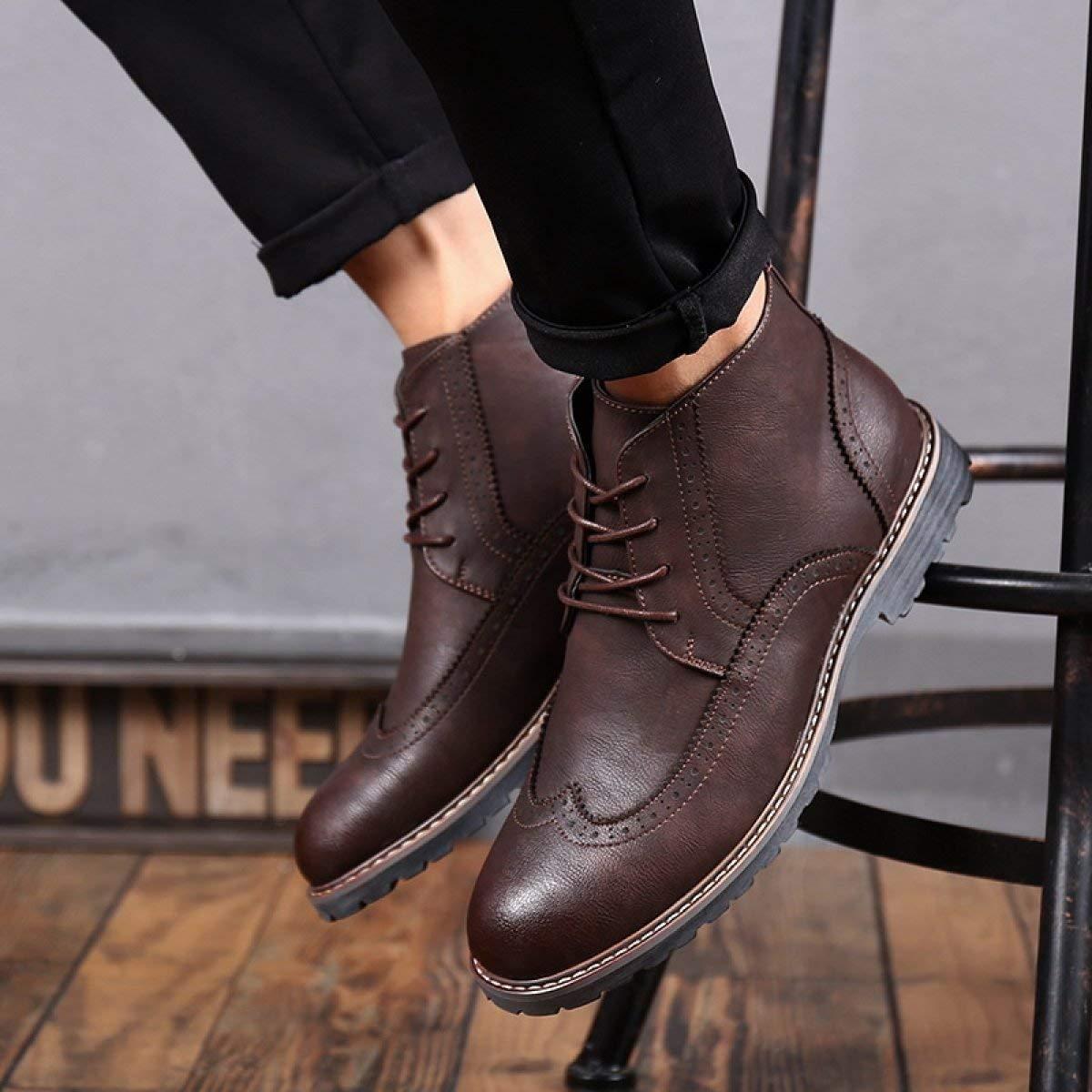 Willsego Herren Lederstiefel Outdoor Martin Stiefel Stiefel Stiefel (Farbe   Darkbraun, Größe   44) 2fcf94
