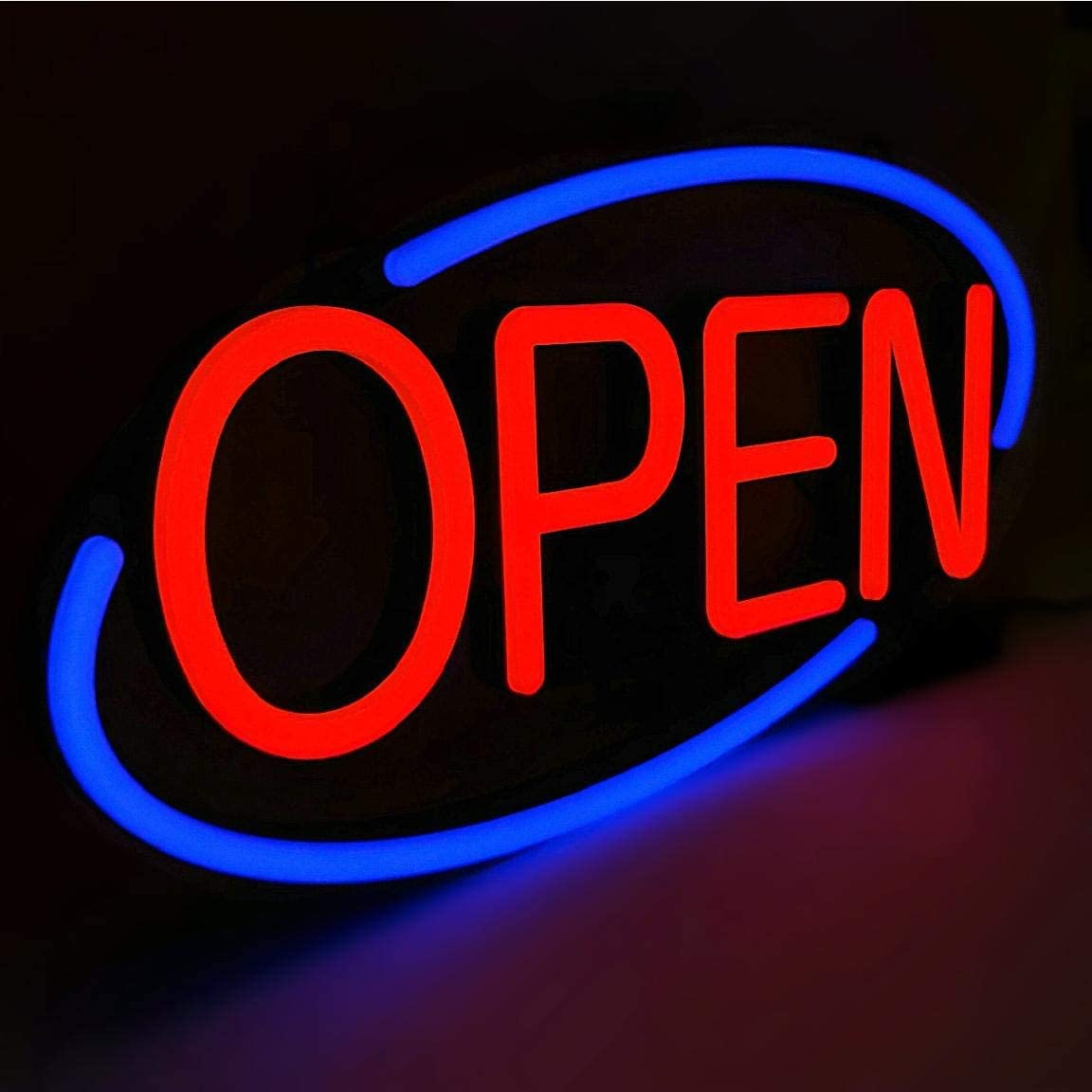 MaxLit 24'' X 12'' New Ultra Bright Oval LED Neon Sign - OPEN - Remote Controlled (Blue/Red)