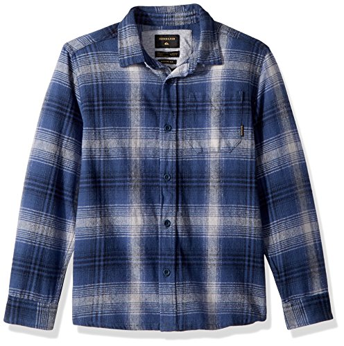Check Big Flannel (Quiksilver Big Boys' Long Sleeve Fatherfly Youth Flannel Shirt, Navy Blazer Fatherfly Check, XS/8)