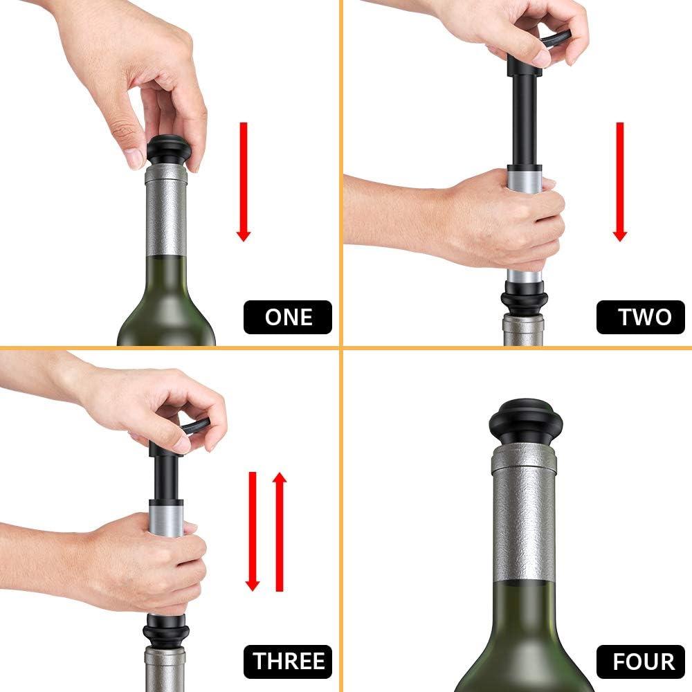 4pcs Black Wine Bottle Vacuum Saver Sealer Plug Button Stoppers Preserver Pump