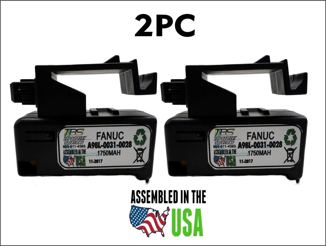 2PC Fanuc A98L-0031-0028, A02B-0323-K102 Single Cell 3V in Cartridge Battery Replacement