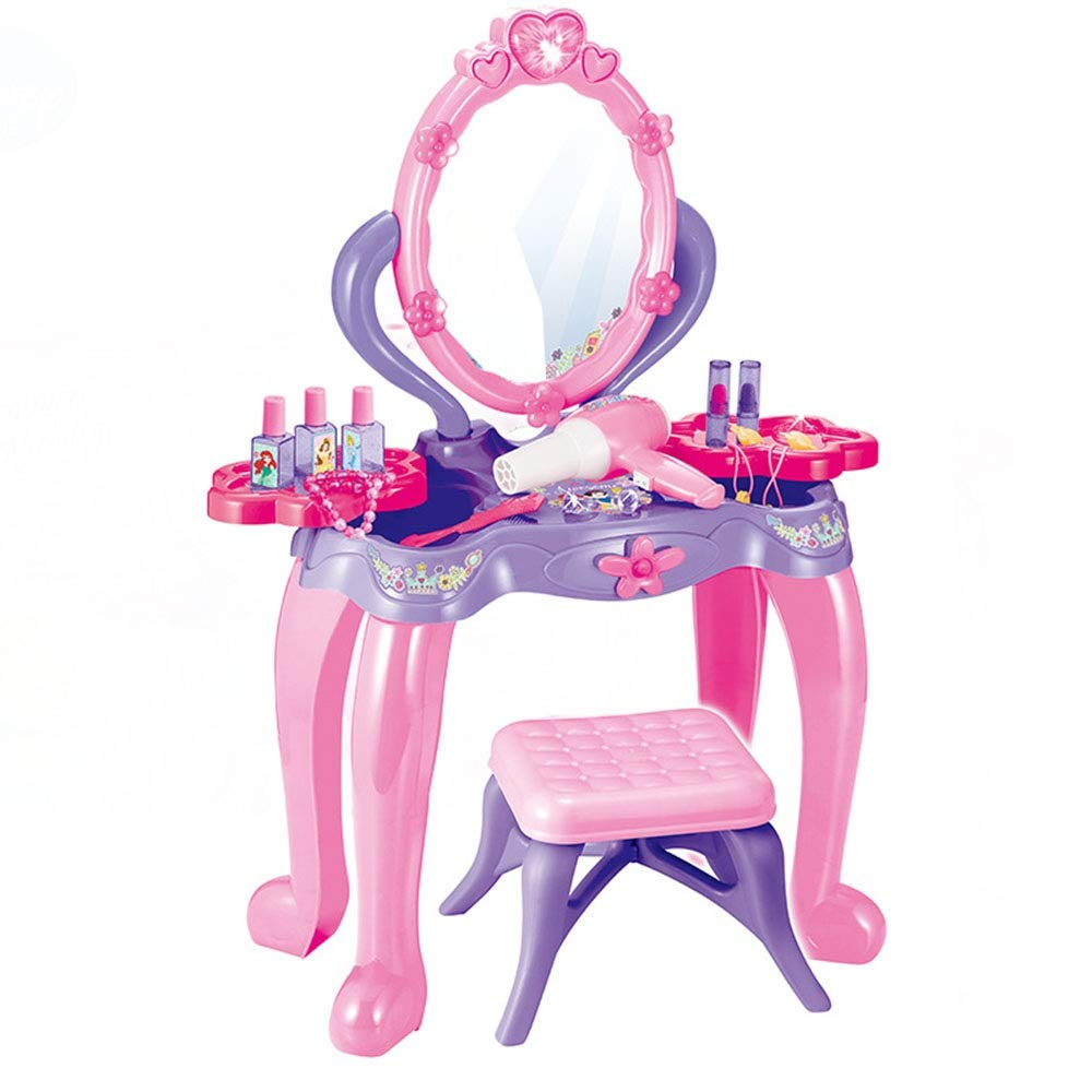 Children's Vanity Beauty Dresser Table Play Pretend Play Kids Vanity Table and Chair Beauty Mirror and Accesories Play Set with Fashion & Makeup Accessories for Girls Toy for Kids Girls