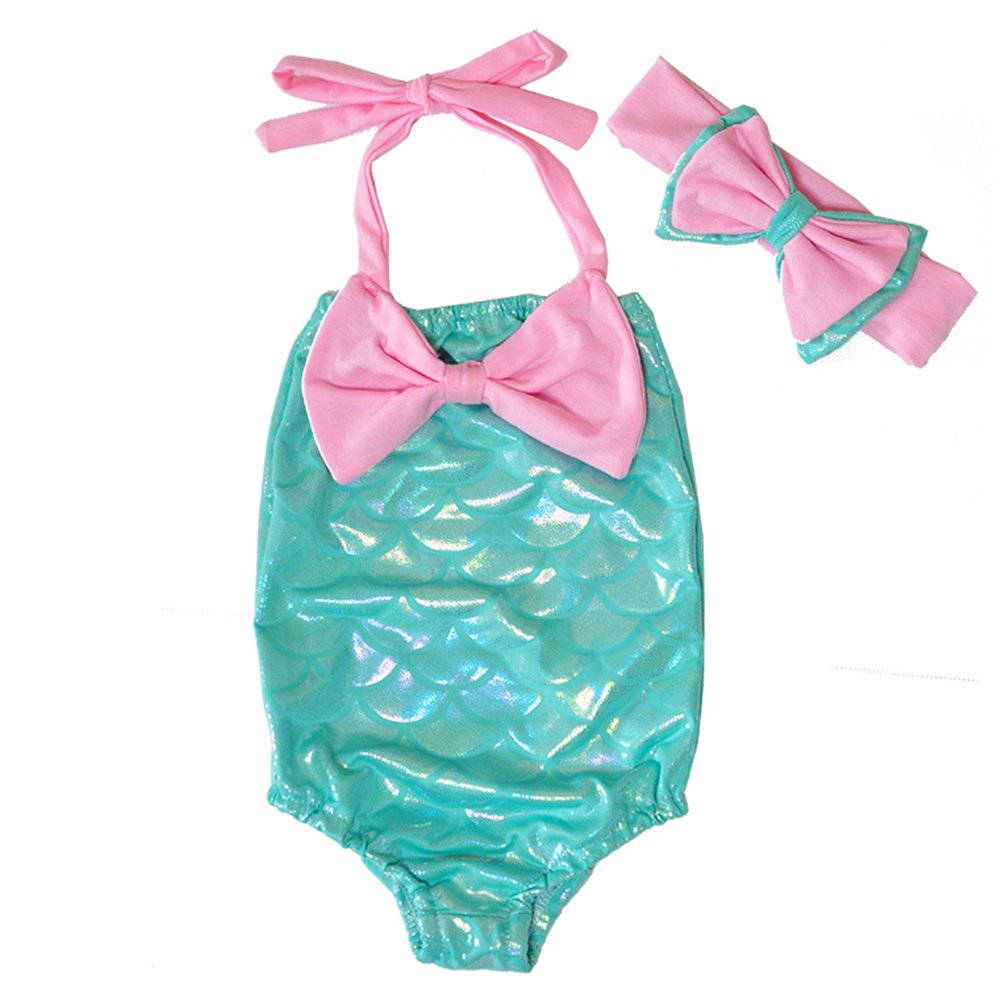 2 Styles Little Girl Scales One-Piece Bikini Halter Swimsuit+Bowknot Headband
