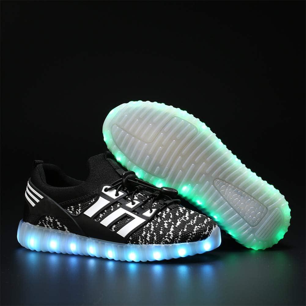 You yanchun USB Charging Children Boys Shoes Led Light Glowing Luminous Sneakers Kids Shoes Black 29