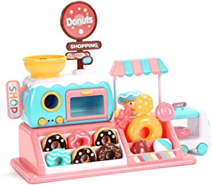STWM Kids Kitchen playset Toys, Electronic Microwave Toy with Light and Music, Pretend Play Oven with Play Food Donuts, Children Kitchen PlaySet Great Learning Gifts for Age 3+ Toddlers Girls Boys