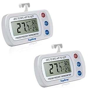 Digital Refrigerator Thermometer - Fridge/Freezer/Room Thermometer With Hook,Waterproof Large LCD Display Max/Min Record, for Kitchen, Home, Restaurants (2Pack, Battery Included)