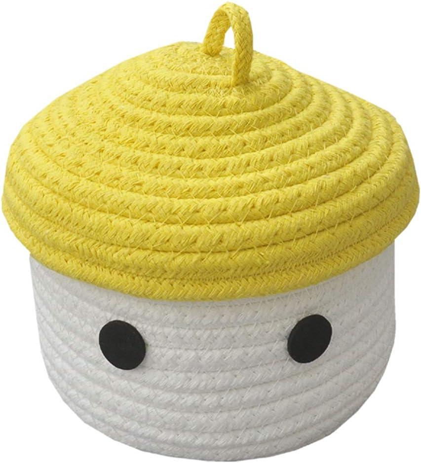 Gelb//Wei/ß B/üro Inwagui Kleiner Aufbewahrungskorb mit Deckel Baby Aufbewahrungsbox aus Baumwollseil Dekorative Korb f/ür Kinderzimmer Wohnzimmer