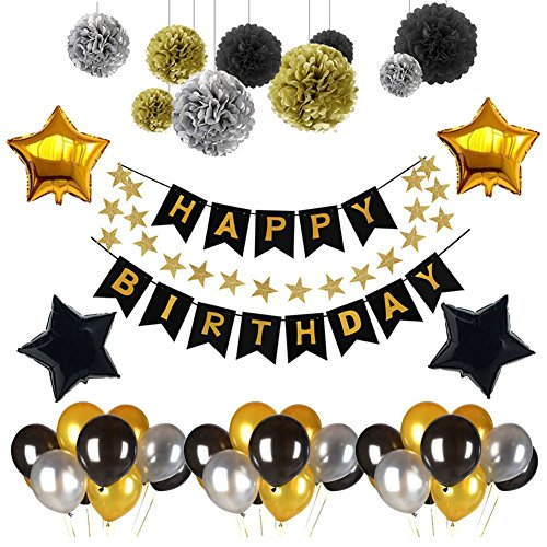 Happy Birthday Banner, Yoart Banner Balloons for Birthday Party Decorations Birthday Party Supplies with Tissue Pom Pom Ball Black and Gold Foil Star Balloons