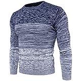 Siundddkw Winter Mens Boys Fine Novelty Long Sleeve Stylish Stripe Knitted Pullover Slim Jumper Knitwear Blouse (Blue, XL)