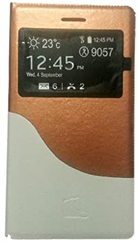PCM S View Leather Flip cover for Micromax Fun A76   Gold  amp; White   Pink City Mobile available at Amazon for Rs.249