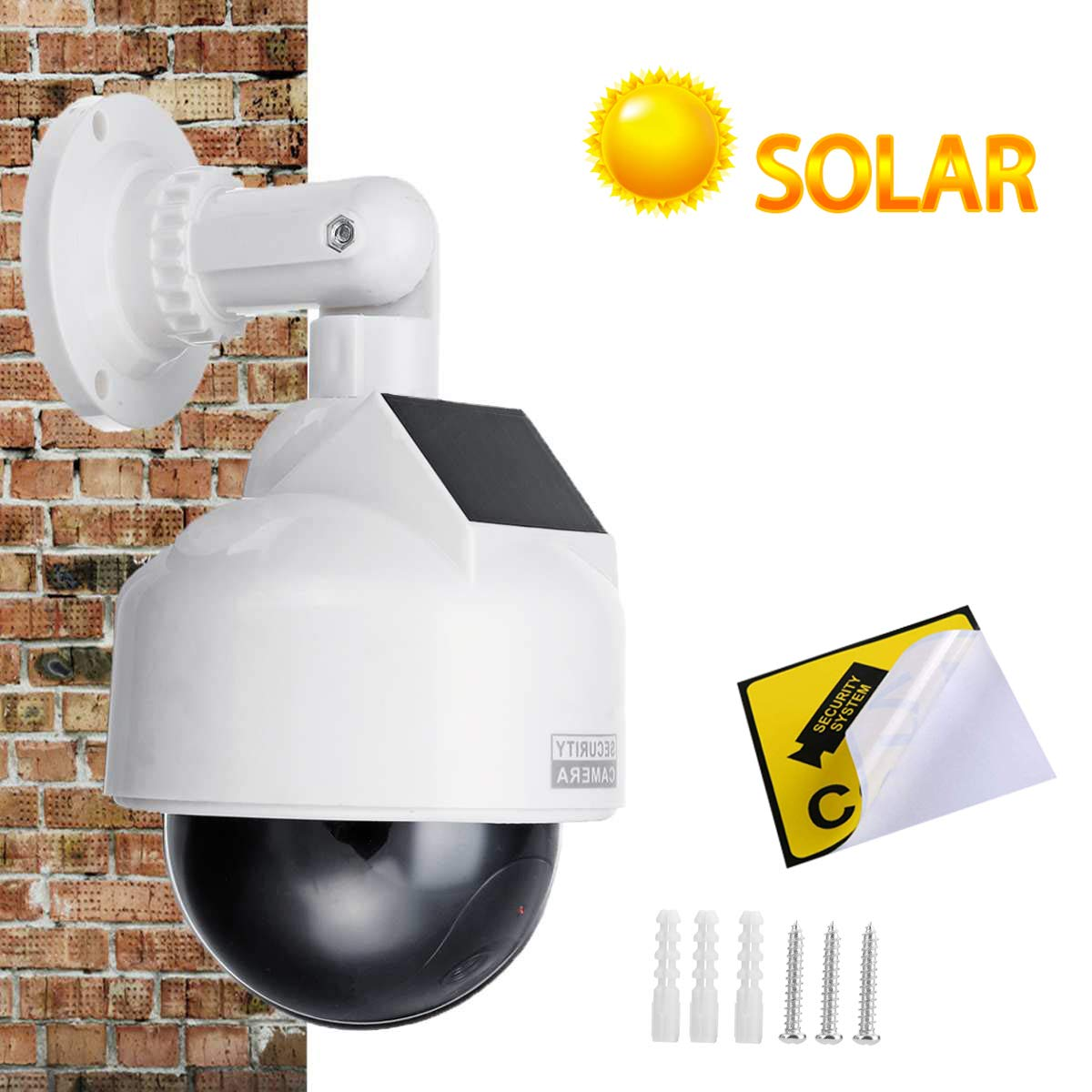 Indoor//Outdoor Use YSUCAU Solar Powered Dummy Fake CCTV Security Dome Camera with Flashing Red LED Light /& Warning Security Alert Sticker Decal