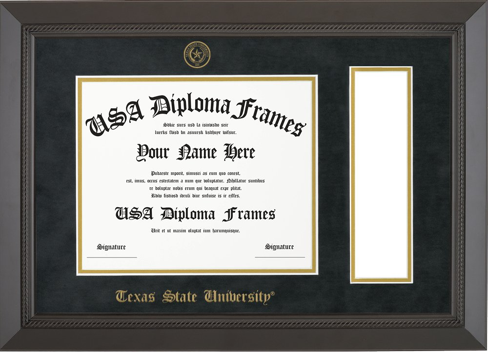 Texas State University Diploma Frame with Tassel Opening - Black Rope Frame with Black Suede Mat