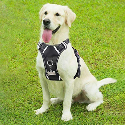 WINSEE Dog Harness, No-Pull Walking Pet Vest Harness with Handle and Front/Back Leash Attachments, Reflective Adjustable Oxford Material Easy Control Harness Black for Large Dog