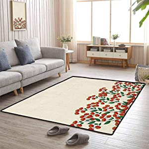 Nature Outdoor Area Rug 6'x9' Gifts for Women Red Clusterberries in Bush Leaves Garden Christmas Theme Image Print Olive Green Red and Peach