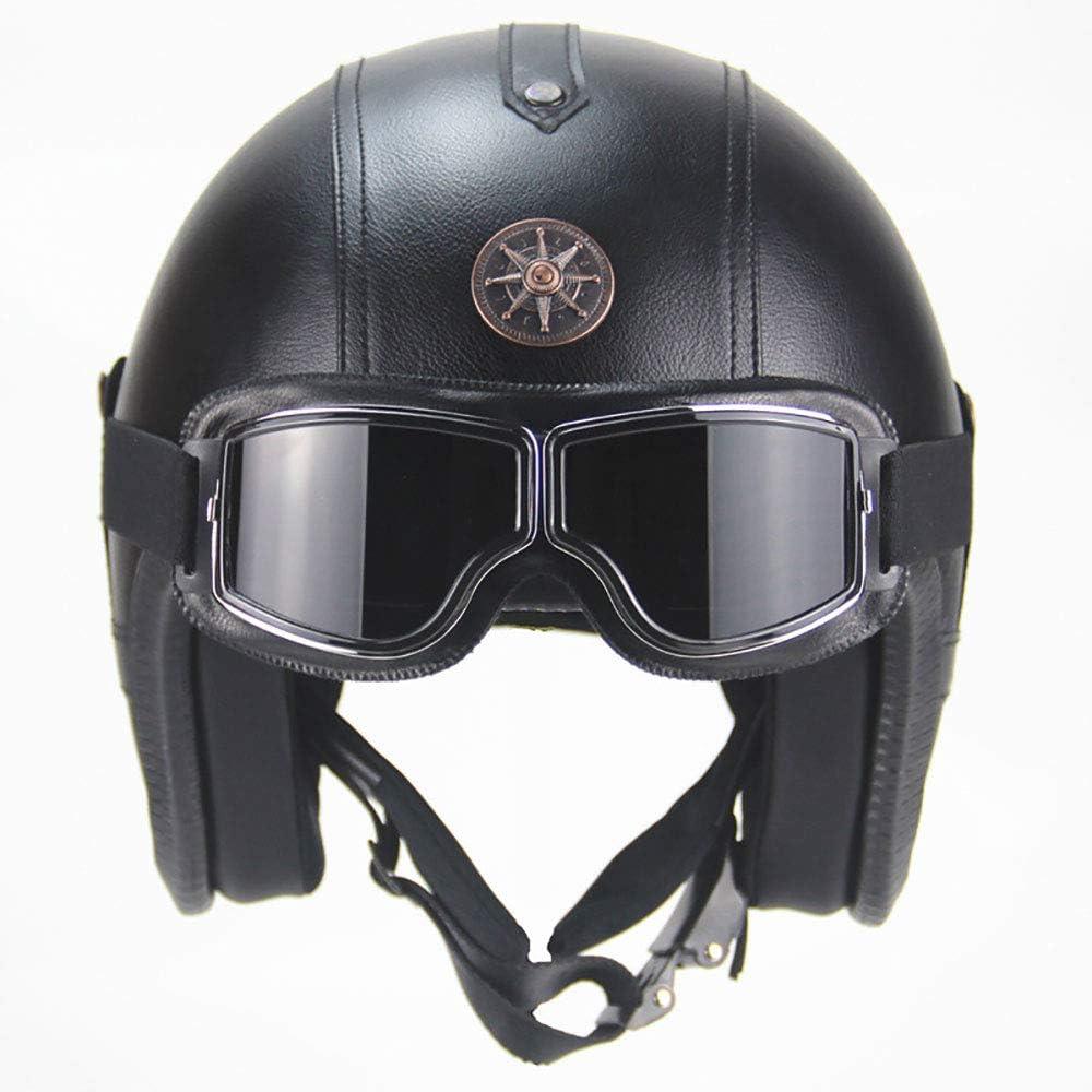 Lixibei Negro del Motorista Vespa-Casco Chopper Bobber de la Vendimia del Crucero de Moto-Casco Piloto Retro-Jet Casco Vespa Mofa-Casco, ECE Certificado, diseño Cuero