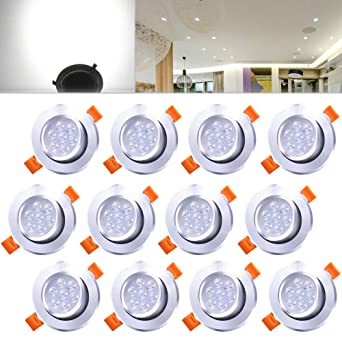 Hengda® 7W Blanco frío Dimmable LED Lámpara Foco empotrable Luz de Techo Bombillas LED Foco