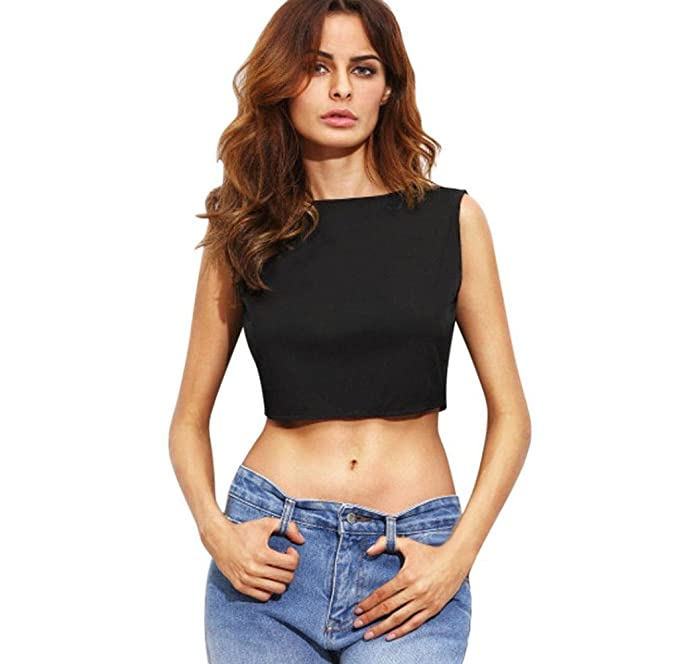 Tongshi Mujeres Sleveeless Tops Venda Slash Cuello Blusa De Ombligo (Large, Negro)
