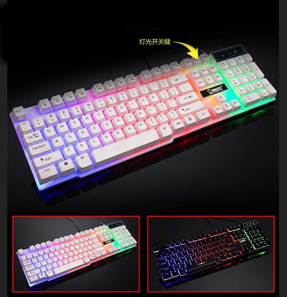 xfyxl Wired Keyboard and Mouse Light Suit Mechanical Feel USB Universal Keyboard Office Game Notebook Ps