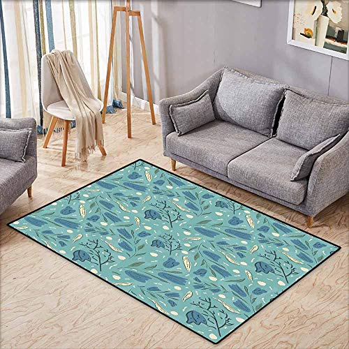Outdoor Patio Rug,Seafoam Hand Drawn Aquarelle with Floral Motifs Leaves Stalks Bell Flowers,Anti-Static, Water-Repellent Rugs,3'11