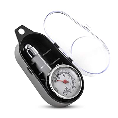 CZC AUTO Small Tire Pressure Gauge, Accurate Mechanical Zinc Alloy Air Gage, Single Chuck Dial Wheel Pressure Tester for Motorcycle Bike Car RV Bicycle SUV ATV, 10-100PSI, 0.5-7.5KG/c㎡: Automotive