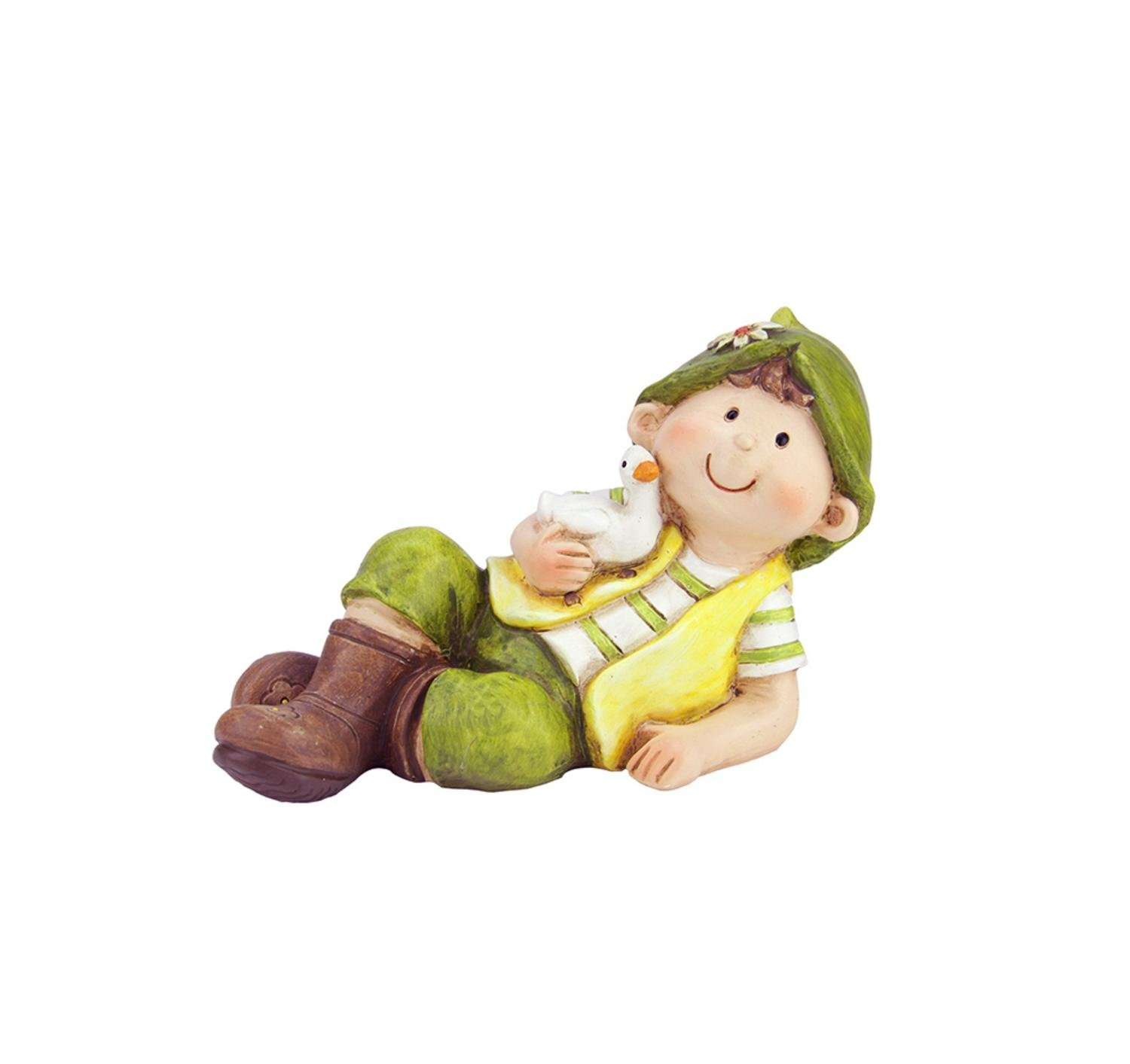 Northlight QQ76237 A Young Boy Gnome Laying with Duck Spring Outdoor Garden Patio Figure Statuary and Fountains, 7.5'', Green
