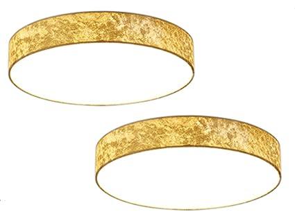 2er Set Led Deckenleuchten Lugano ø 40cm Stoff Goldfarben