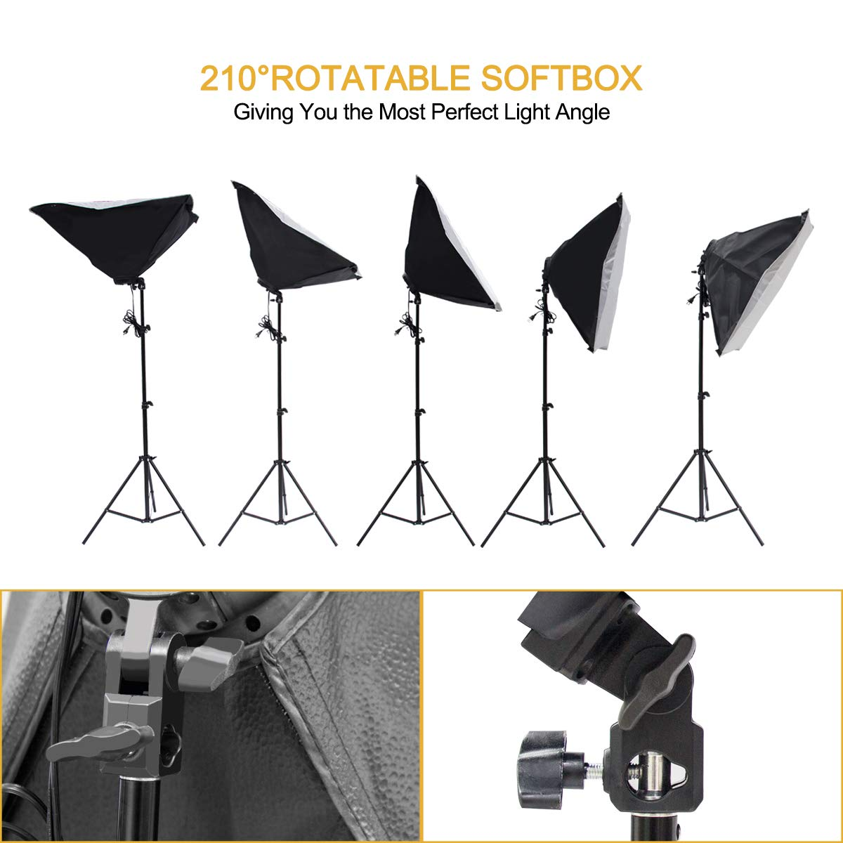 Wisamic Photography Video Studio Lighting Kit, Background Support System 10ft x 6.6ft/2MX3M with 3 Color Backdrop, 3 Umbrella, 3 Softbox, Continuous Lighting Kit for Photo Video Shooting Photography by Wisamic (Image #5)