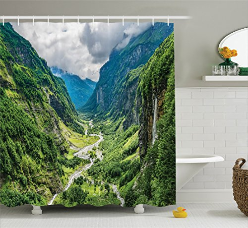 Ambesonne Lake House Decor Collection, Valley Mountain Tree Mist Waterfall Canyon Alpine Landscape Mother Nature Theme, Polyester Fabric Bathroom Shower Curtain Set with Hooks, Green Blue - White Alpine Fabric
