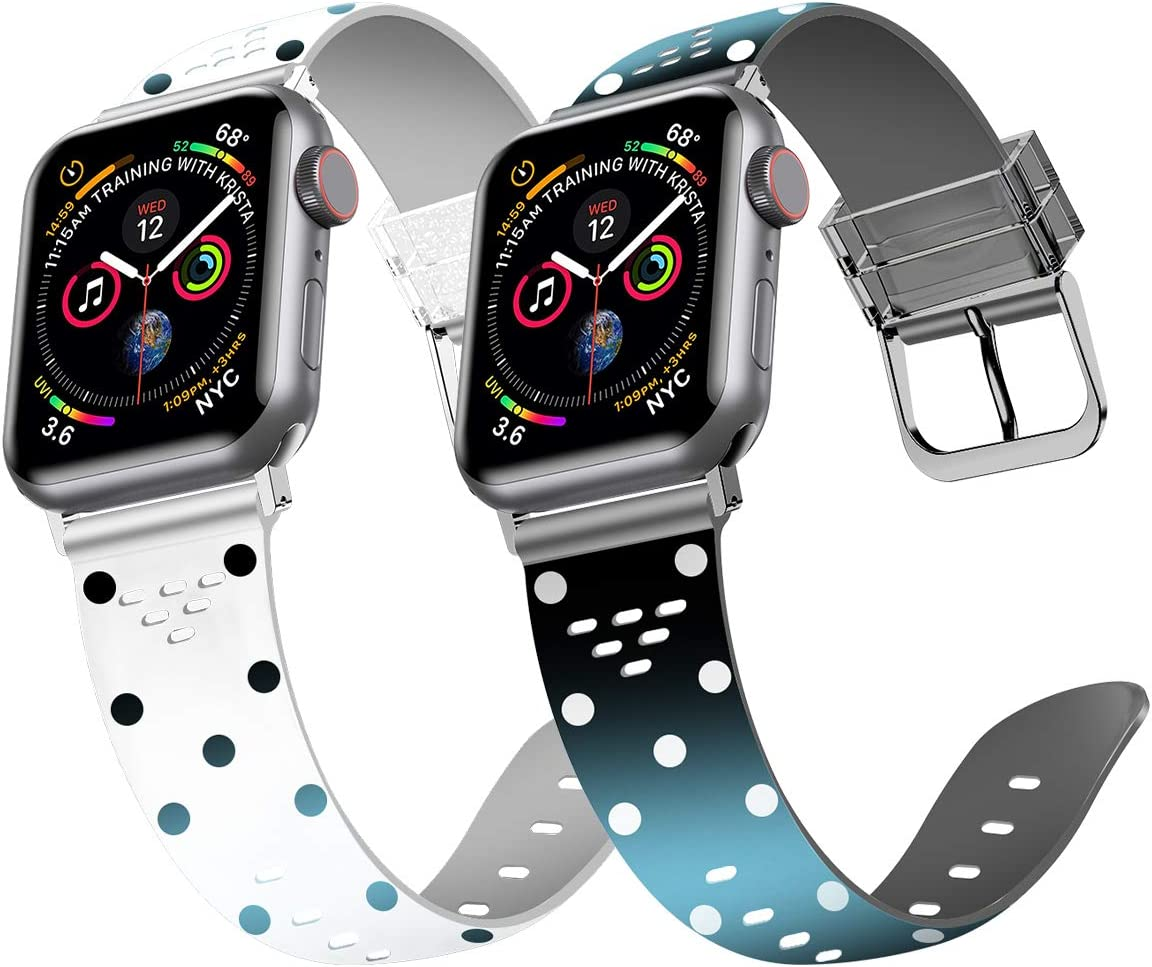 [2-Pack] iiteeology Compatible with Apple Watch Band 40mm 38mm, Silicone Waterproof Sport Wristband Replacement Band for iWatch SE Series 6 5 4 3 2 1 Women - White Polka Dot + Black Polka Dot