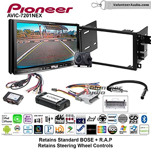 Pioneer AVIC-7201NEX Double Din Radio Install Kit with GPS Navigation Apple CarPlay Android Auto Fits 2003-2005 Chevrolet Blazer, 2003-2006 Silverado, Suburban (Bose and SWC) by Pioneer Volunteer Audio