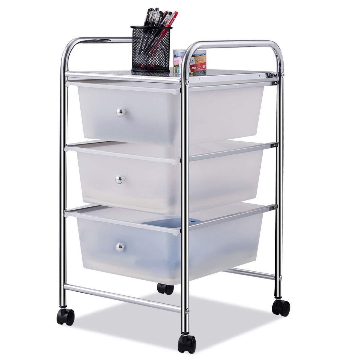 Giantex 3 Drawers Cart Storage Bin Organizer Rolling Storage Cart Metal Frame Plastic Drawers Flexible Wheels Home Office Scrapbook Supply & Paper Shelf, White