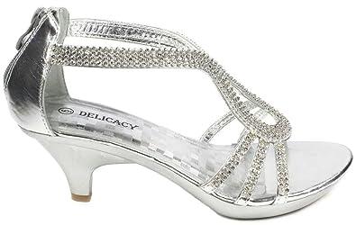 15f66cc58eb JJF Shoes A36 Silver Classy Rhinestone Angle Strap Evening Dress Low Heel  Sandals-5