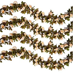Gatton 6PCS(44.3FT) Artificial Rose Vine Silk Flower Garland Hanging Fake Roses Flowers Plants for Home Garden Office Hotel ding Party Decor, Champagne | Model WDDNG - 692 | 6PCS 96