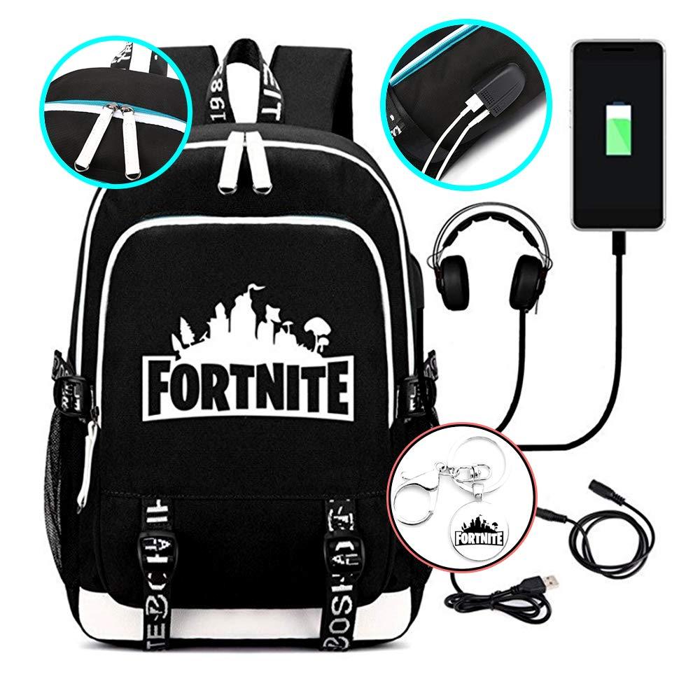 Fortnite Backpack School Bag Multi-Functional Water-Resistant Rucksack with USB Charging Port and Headset Port + FORTNITE KEYCHAIN GIFT