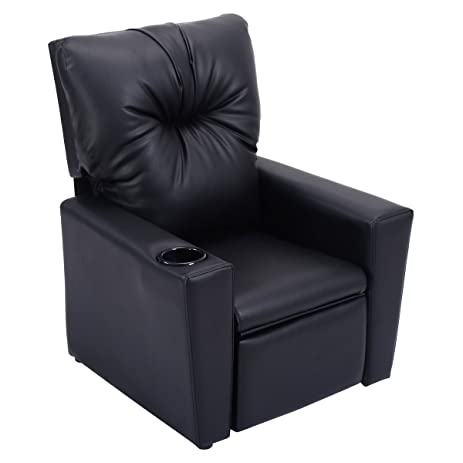 Costzon Kids Recliner Chair Manual PU Leather Reclining Seat W/Cup Holder  (Black)