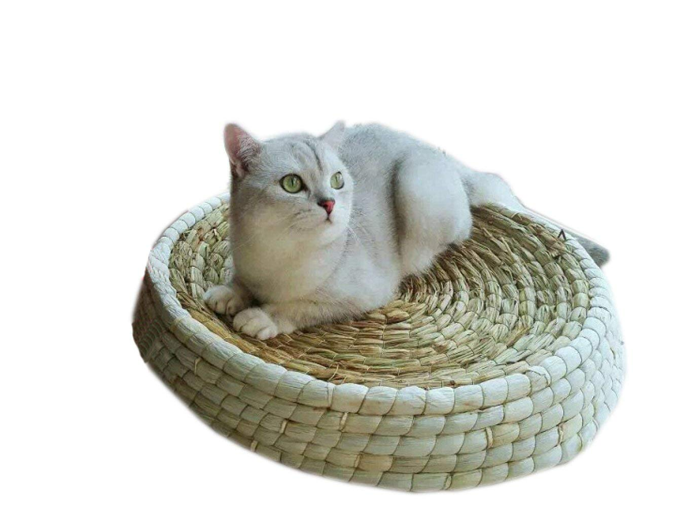 50 Pet Bed Cat Supplies Straw Cat Litter Dog Kennel Summer Cool Breathable Hygroscopic Cat Hammock Grabbing Bowl Type Hen Egg Lay,45 (color   50)