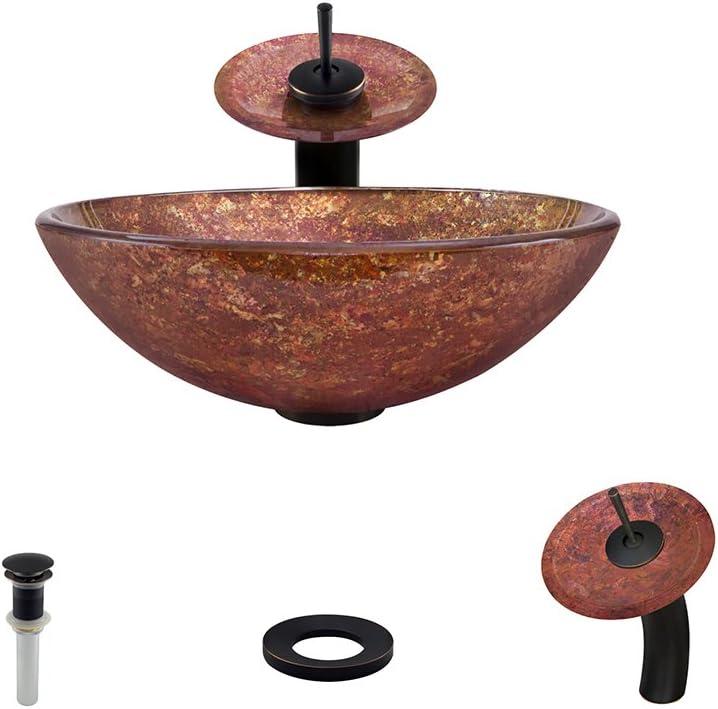 639 Antique Bronze Waterfall Faucet Bathroom Ensemble