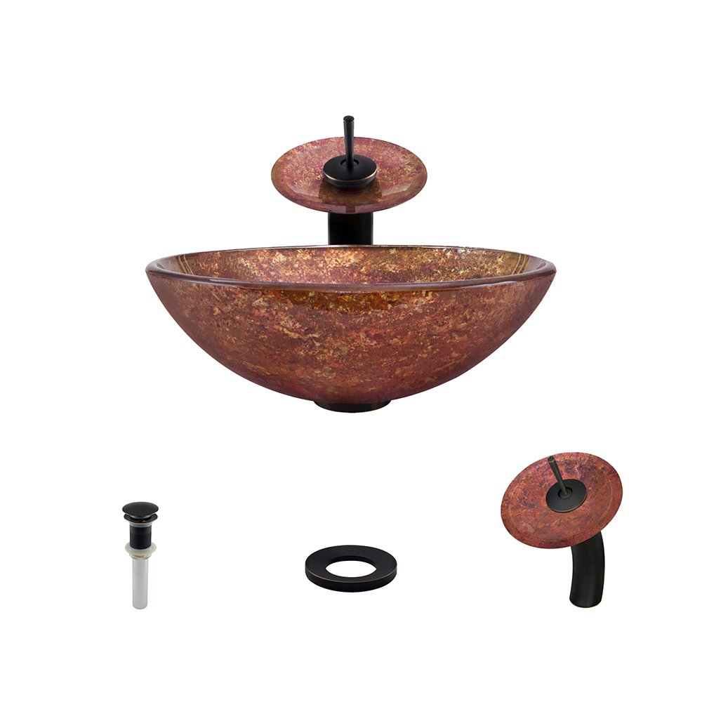new The MR Direct 639 Antique Bronze Waterfall Faucet Bathroom Ensemble