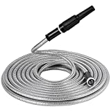 BEAULIFE Strong 304 Stainless Steel Metal Garden Hose with Nozzle 50ft|Flexible, Portable & Lightweight - Kink, Tangle & Puncture Resistant|High Water Flow Spray for Watering Lawn, Yard, Car Wash by