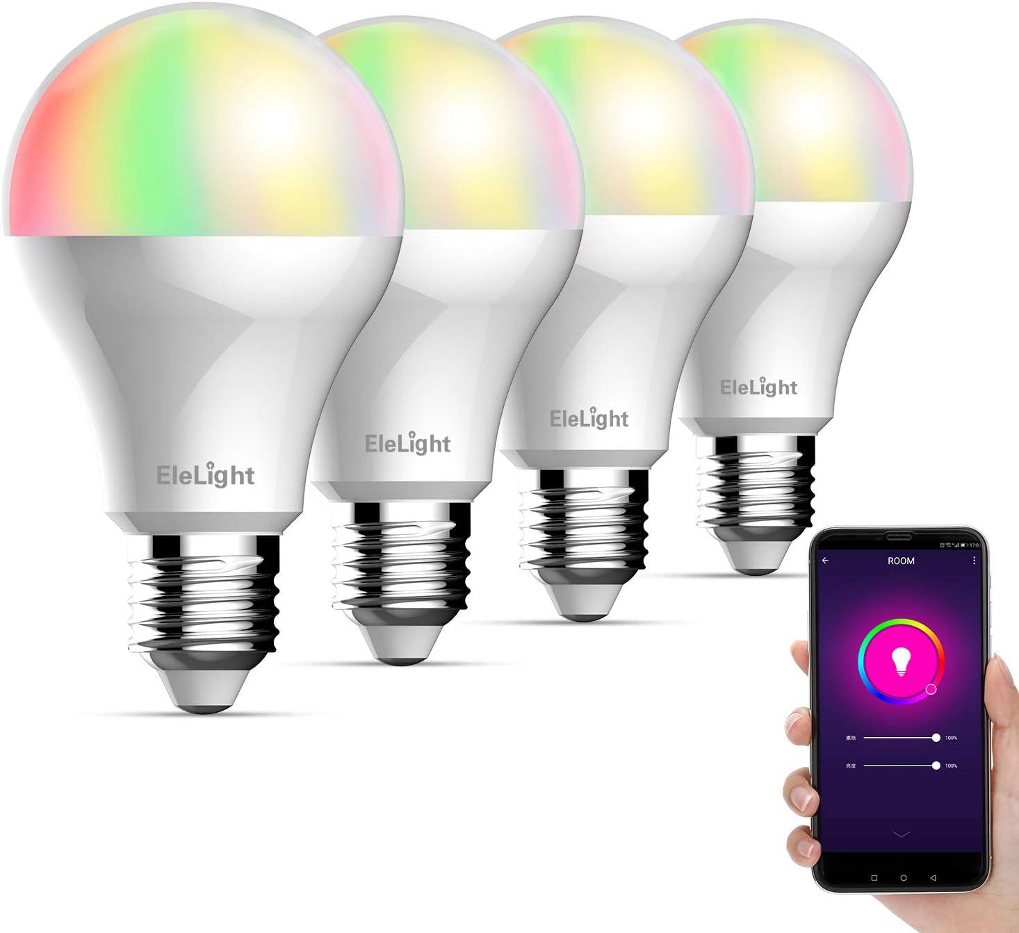 No Hub Required Dimmable RGB Smart Light Bulb LED WiFi Bulb E27 Base 9W LED Multicolor Light Compatible with  Alexa /& Google Home Smart Light Bulb