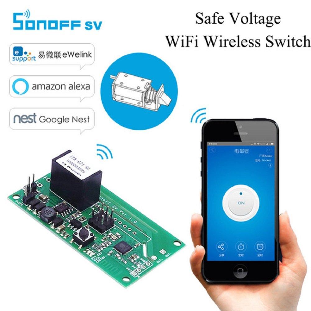 Sonoff SV Safe Safe Switch WiFi Inal/ámbrico Smart Home M/ódulo DC 5V-24V Aplicaci/ón del tel/éfono Control remoto Soporte Desarrollo secundario para  Alexa Asistente Google Nest WIshiot