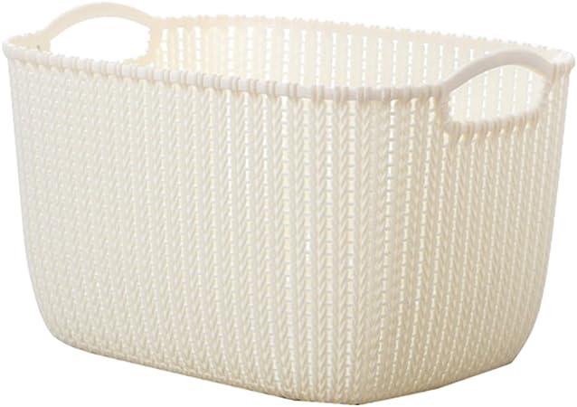 Cesta de almacenamiento de ratán, teckpeak plástico caja de almacenaje mimbre lavandería lavado cesta ropa juguetes organizador cesta – × 27.5 × 23,5 cm, plástico, Creamy White, 38.5×27.5×23.5CM: Amazon.es: Hogar