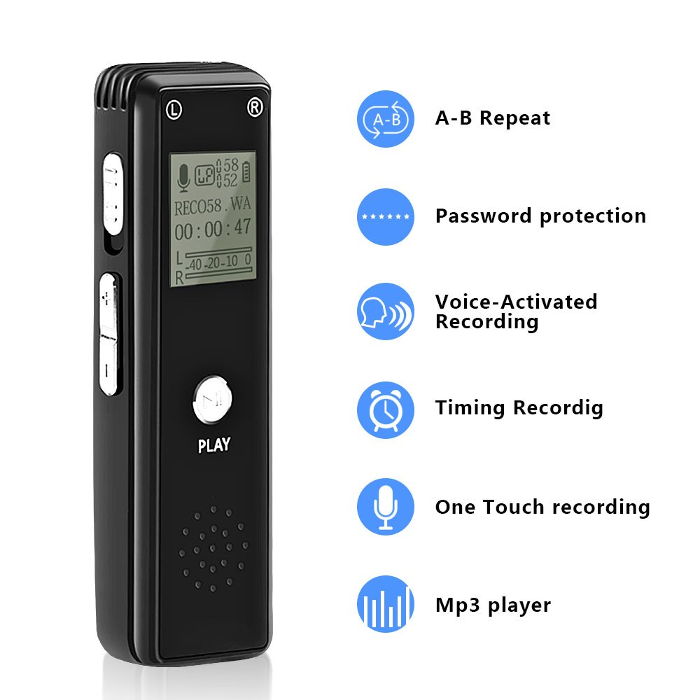 [Newest 2019] Digital Voice Recorder, Sencam Password Protection 8GB 1536kbps Digital Stereo MP3/LPCM Voice Recorder Mini Voice Activated Recorder for Lectures Meetings Interviews Class Concerts