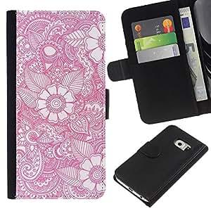 For Samsung Galaxy S6 EDGE Case , Wallpaper Pink White Pattern Spring - la tarjeta de Crédito Slots PU Funda de cuero Monedero caso cubierta de piel