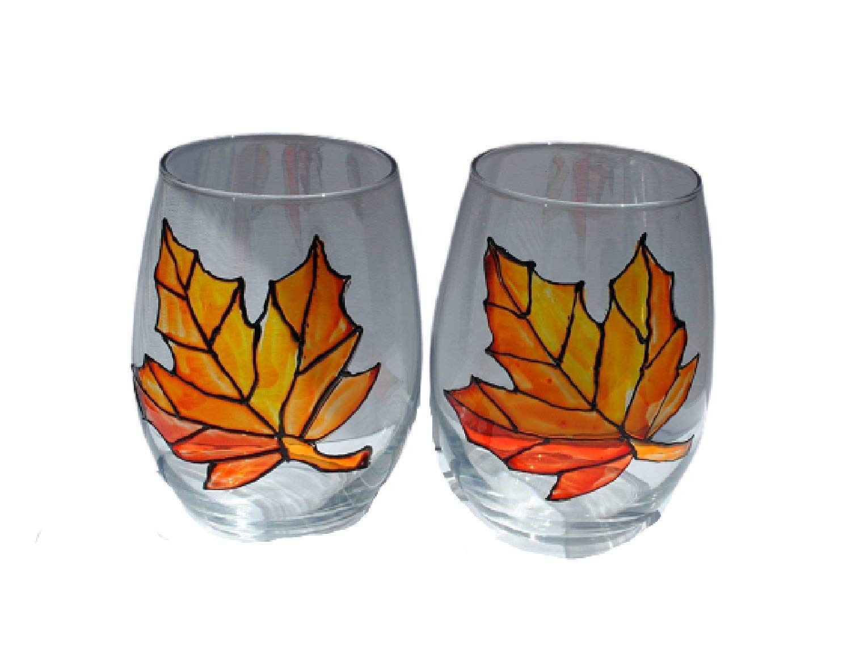 Amazon Com Autumn Maple Leaf Hand Painted Stemless Wine Glasses Set Of 2 Fall Home Decor Handmade