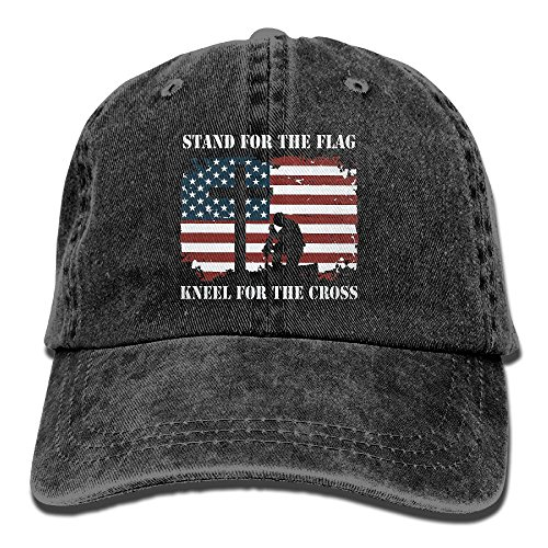 Stand For The Flag, Kneel For The Cross Washed Retro Adjustable Jean Cap Trucker Cap For Man And Woman