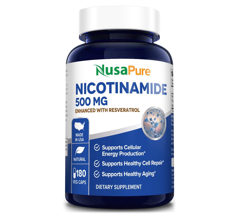Nicotinamide with Resveratrol (Vitamin B-3) 500 mg - 180 Vegetarian Caps (Non-GMO & Gluten-Free)